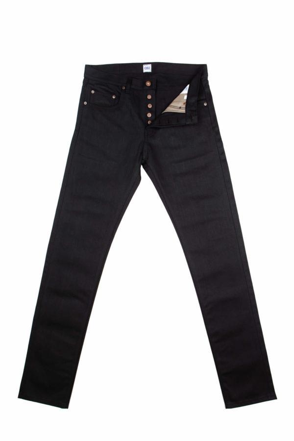 13.4 oz Black Brooks Slim Fit Jeans Open