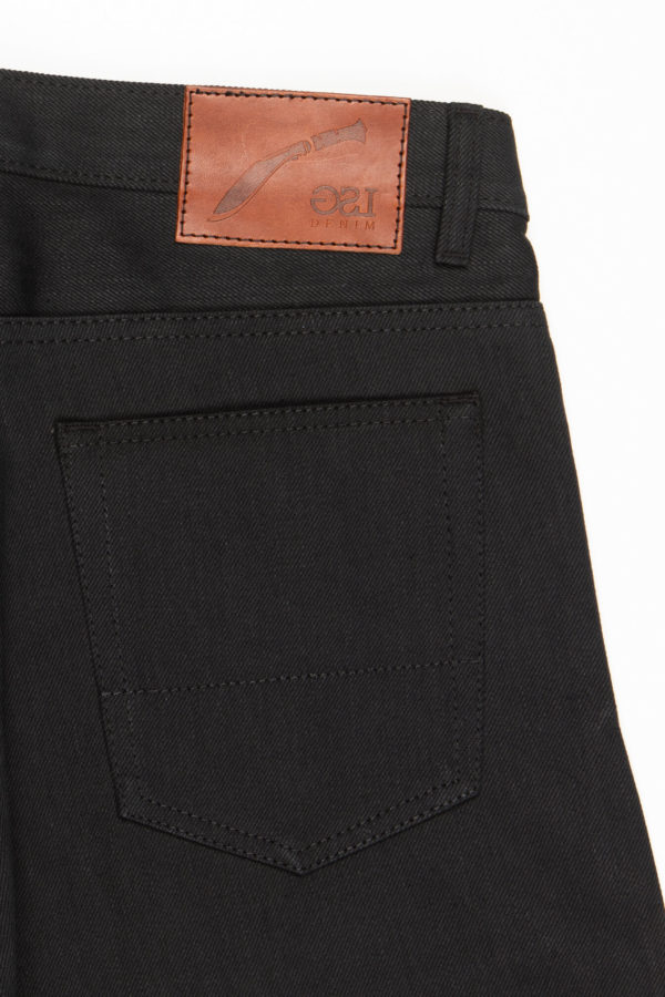 13.4 oz Black Brooks Slim Fit Jeans Leather Patch